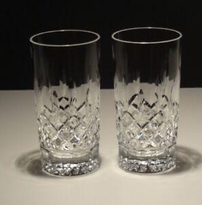 "2 WATERFORD CRYSTAL LISMORE HIGHBALL TUMBLER GLASSES 5 1/2"""