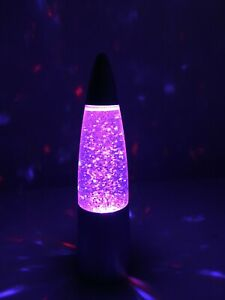 """NEW LED Multicolor Sparkle Party Lava Lamp 6"""" Motion Activated - Silver"""