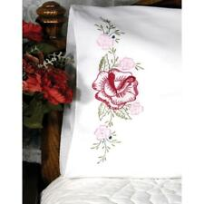 FAIRWAY NEEDLECRAFT Pillow Case Set of 2 for Stamped Embroidery RED ROSE