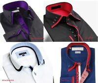 Mens Italian Designer Shirt Double Collar Slim Fit Shirts Casual Size M L XL XXL