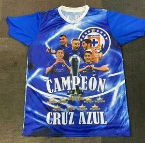 Cruz Azul FC Campeon La Maquina Celeste Men's Soccer Jersey With Players Images