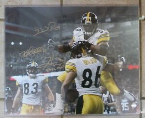 HINES WARD HEATH MILLER & WILLIE PARKER SIGNED 16 x 20 PHOTO PITTSBURGH STEELERS