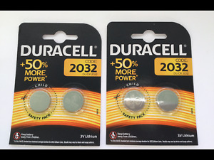 DURACELL  LITHIUM BUTTON CELL BATTERIES XTRA LIFE CR2032 x 4