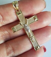 Real 14k yellow white Gold rosary virgin Mary Cross Pendant charm 1.85 inch long