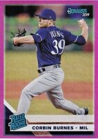 2019 Donruss Rated Rookie CORBIN BURNES Holo Pink Foil #33 Milwaukee Brewers RC