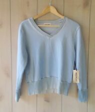 NWT $198 Cotton Citizen Light Blue Milan Cropped VNeck Sweatshirt French Terry S