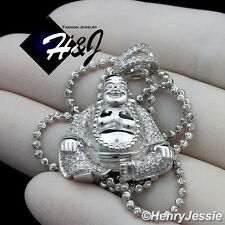 "MEN 925 STERLING SILVER 18-30""X2MM MOON CUT BEADED NECKLACE BUDDHA PENDANT*SP165"