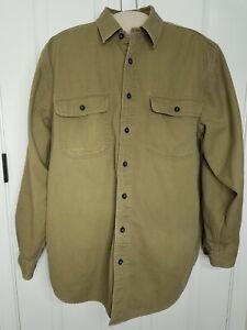 LL Bean Flannel Lined Chore Shirt Jacket Large Khaki Button Front Cotton