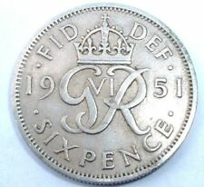 1951 Year of Issue George VI Sixpence Coins (1936-1952)