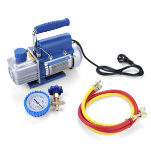 220V 150W Vacuum Pump Kit for Air Conditioning with Pressure Gauge Tube 2pa