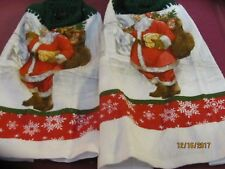 LOT OF TWO  BRAND NEW HANDMADE CROCHETED HANGING KITCHEN TOWELS SANTA CARING TOY