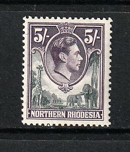 NORTHERN RHODESIA 1938 X 5/-.   MINT