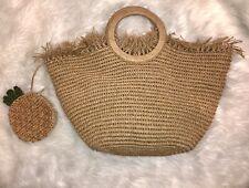 Liz Claiborne Beach Straw Bag Tote Cornhusk Pineapple Raffia Fringe Boho Paper
