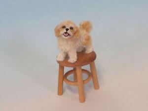 OOAK Dollhouse Miniature 1:12 dog Cavapoo Realistic Handmade IGMA Artsn JParrott