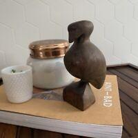 vintage mid century modern hand-carved wood bird sculpture/decorative figurine