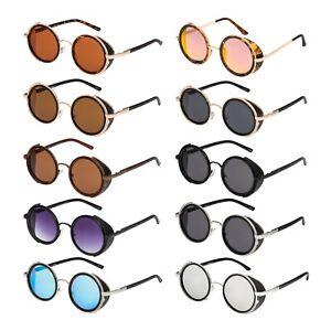Steampunk Glasses Cyber 50s Round Retro Gothic Vintage Goggles Sunglasses UV400