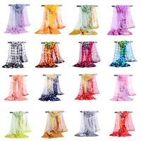 Elegant Women Summer Beach Long Soft Silk Chiffon Scarf Thin Wrap Shawl Scarves