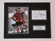 Colin Bell Manchester City Hombre mano firmado exhibición de Montaje de Foto Autógrafo Certificado De Autenticidad
