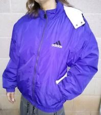 Men's Vintage Adidas Purple Puffy Puffer Jacket Coat Size L Striped