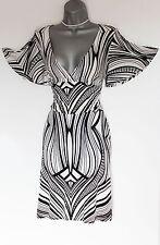 Karen Millen Jersey Print V Neck Kimono Sleeves Casual Formal Dress UK10 EU38