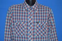 vintage 80s WRANGLER RED BLUE WHITE PLAID WESTERN PEARL SNAP COWBOY SHIRT Large