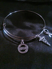 Diabetic Alert/ Awareness Silver Wire Expandable Bracelet