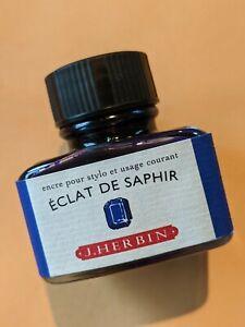 "J Herbin Fountain Pen Ink – 30ml Bottle of ""Eclat de Saphir"""