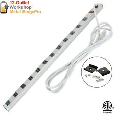 12 Outlet Metal Power Strip Surge Protector Heavy Duty Adapter Circuit Switch