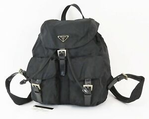 Authentic PRADA Black Nylon and Leather Backpack Bag Purse #38868