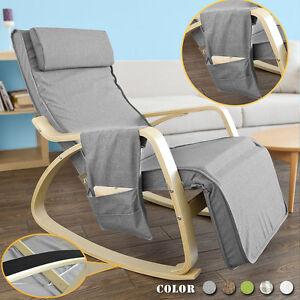 SoBuy® Rocking Chair Fauteuil à bascule berçante avec repose-pieds FST18-DG FR