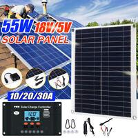 55W Flexible Solar Panel + 10-30A 12V 24V Controller Car Charger RV Caravan Boat