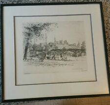 Caroline Armington Paris Le Pont des Arts et la Cite Bridge etching