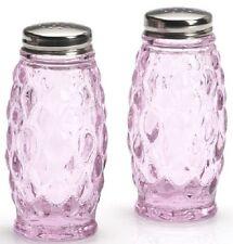Salt & Pepper Shaker Set - Elizabeth Pattern - Mosser USA - Passion Pink Glass