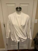 Maeve Anthropologie White V-Neck Wrap 3/4 Sleeve Top, Size XL