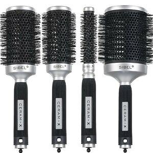 Sibel Professional Ceramic Round Radial Hair Brushes Ceram-X Antistatic Antislip