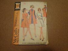Vintage McCalls 9552  Dress and Jumper Sewing Pattern Misses Size 12 1968