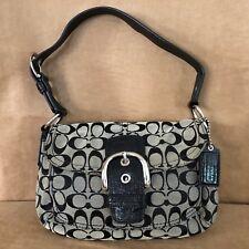 Coach Soho Signature canvas buckle flap bag purse black F15668