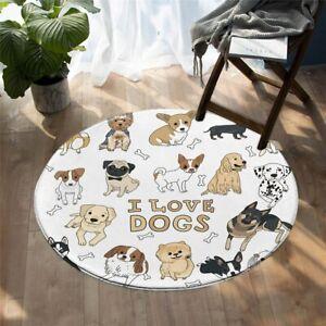 I Love Dogs Bones Animal Pet Puppy Round Rug Carpet Mat Living Room Bedroom