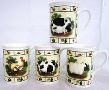 Farm Yard Mug Set of 4 Bone China Cockerel Cow Pig Sheep Set Hand Decorated UK