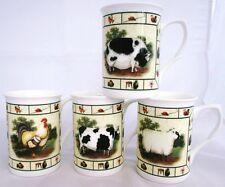 Farm Yard Tazza Set di 4 BONE CHINA Gallo Mucca Maiale Pecora Set decorato a mano UK