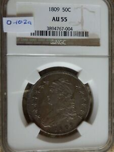 1809 Bust Half Dollar, NGC AU55, O-102a R2, Lists @ $1475