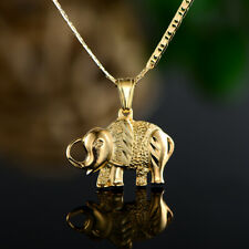 Sevil Unisex 18K Gold Plated Elephant Pendant With Flat Mariner Chain Necklace