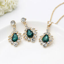 18KGP Womens Tear Drop Emerald Choker Crystal Necklace Earrings Jewelry Set