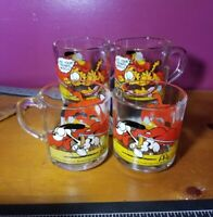Vintage Rare! 1978 McDonalds Garfield Glass Coffee Mug Complete Set of 4 Glasses