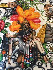 Alexander Henry CONTIGO COLORFUL Aztec Skull Skeleton Rose Pyramid Fabric 1/2 Yd