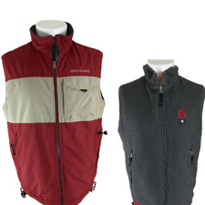 VTG 90's Abercrombie & Fitch Reversible Fleece Vest Red/Grey size Small