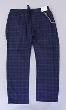 Topman Men's Drawstring Waist Check Chain Pants KB8 Navy Size W38 x L32 NWT