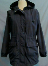 CHEROKEE Womens Hooded Windbreaker Jacket Size Medium Navy Blue w Thick Lining