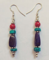 Asian Sterling silver earrings Lapis Coral  Turquoise Jewelry from Nepal  ERD9