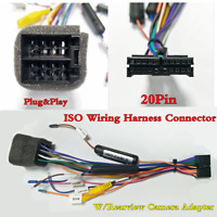 20Pin Plug&Play Car Stereo ISO Wiring Harness Connector +Rearview Camera Adapter